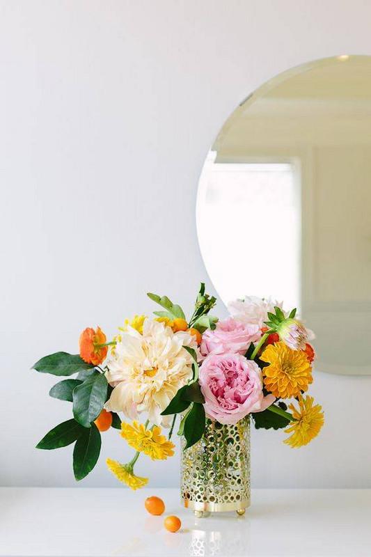 Spring Flower Arrangements pink and yellow flower arrangement