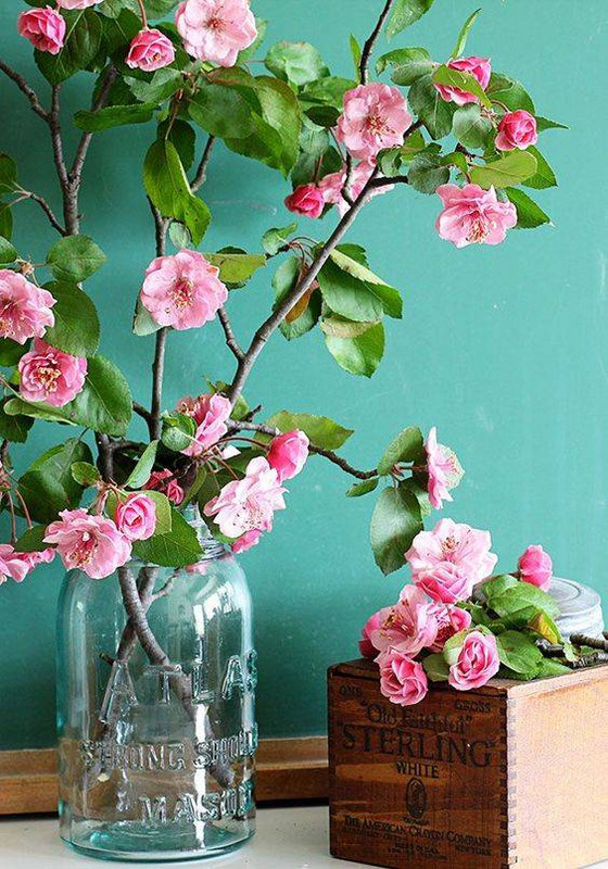 Spring Flower Arrangements pink crabapples in mason jar