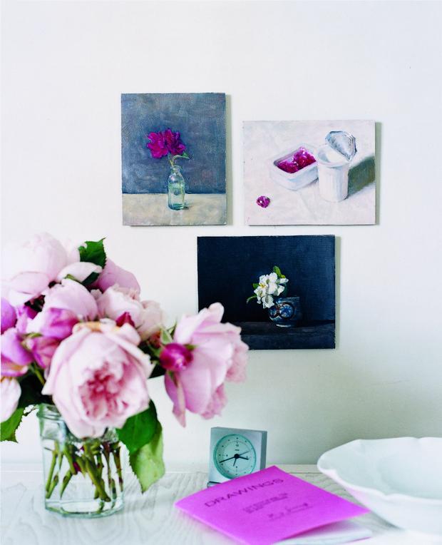 Spring Flower Arrangements pink peonies gallery wall