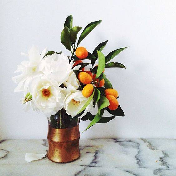 Spring Flower Arrangements poppies and kumquat bouquet