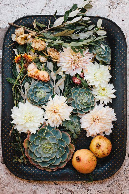 Spring Flower Arrangements succulents on a tray