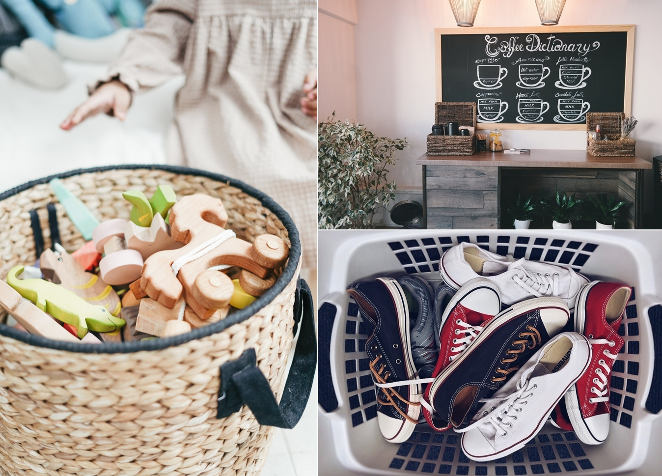 Reduce clutter with baskets