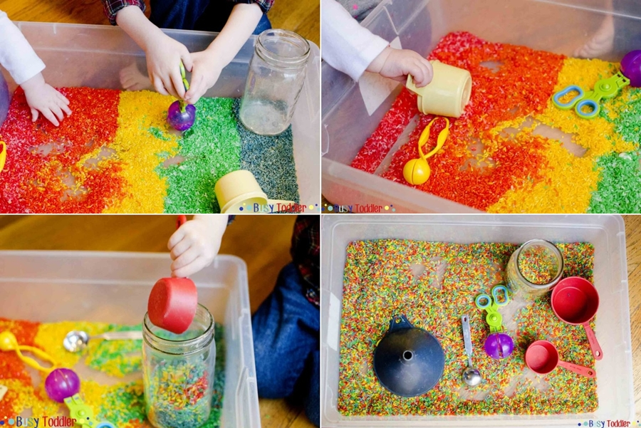 a rainbow rice sensory bin