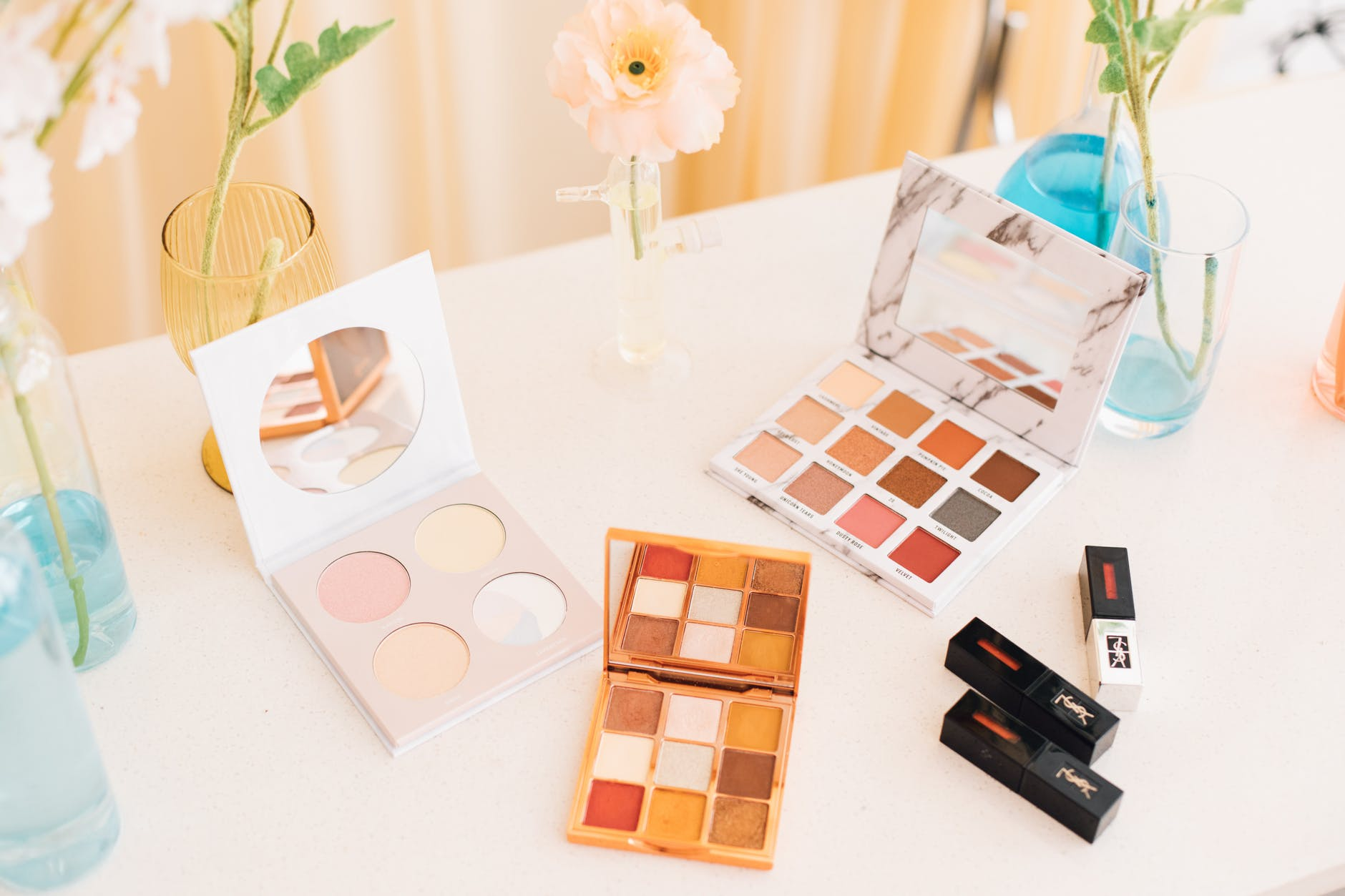 home decluttering by throwing away expired makeup